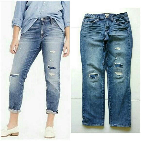 J. Crew Denim - J Crew Slim Broken In Boyfriend Destroyed Jeans